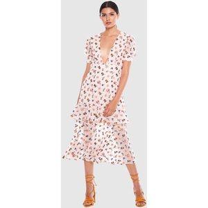NEW TALULAH Follow You Midi Blush Floral Dress